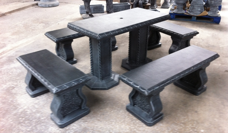 Grey granite table chairs