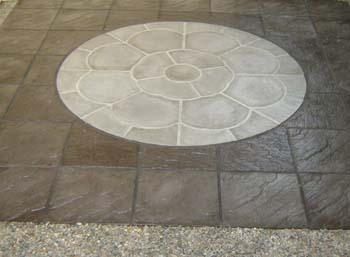 Rose centrepiece riven slate slab